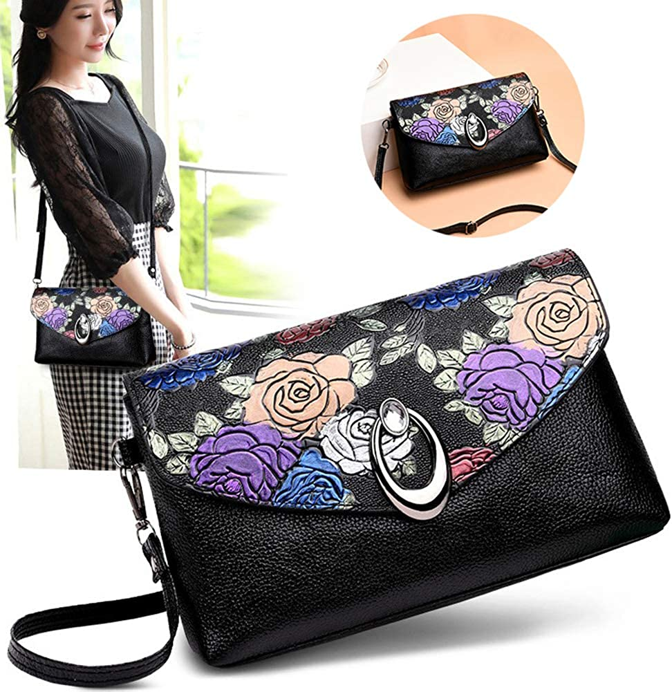 Black Dds5391 Fashionable Retro Flower Faux Leather Flip Lid Women Casual Shopping Envelope Crossbody Bag