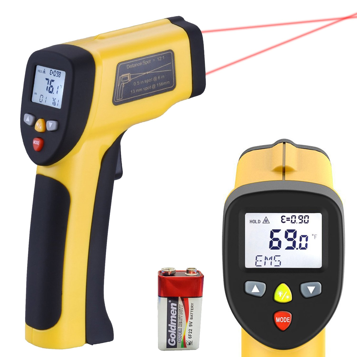 LURICO Infrared Thermometer, Helect Non-contact Digital Laser Temperature Gun (-58°F~1202°F/-50°C~650°C) - Accurate Digital Surface IR Thermometer with LCD Display (Battery Included)