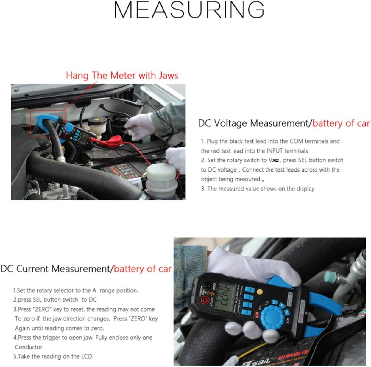 JF-XUAN Auto Range Clamp Meter ACM03Plus Car Voltmeter Ammeter Digital Multimeter with Backlight Resistance Continuity NCV Test Digital Clamp Electrical Tester