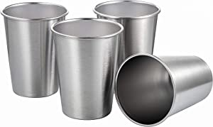 TDGOM 4 Pack 12oz Stainless Steel Cups Shatterproof Pint Drinking Cups Metal Drinking Glasses for Kids and Adults, Picnic cups (Silver, 350ml/12oz)