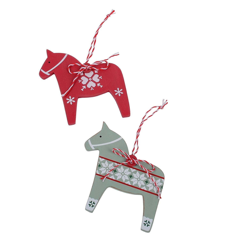 Dadeldo Living /& Lifestyle Pferd Deko Stecker 2er Set Skandi Design 30x9cm rot gr/ün
