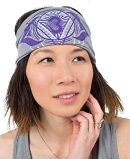 product image for Soul Flower Women's Third Eye Chakra Boho Headband, Gray Organic Cotton Stretchy Wide Half Bandeau Accessory