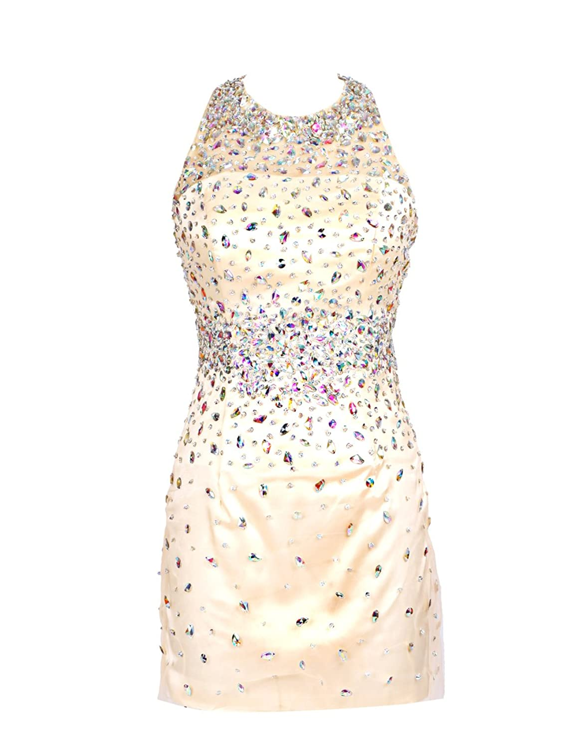 Dressystar Short Halter Bridesmaid Dresses Beadings Size 28W Champagne