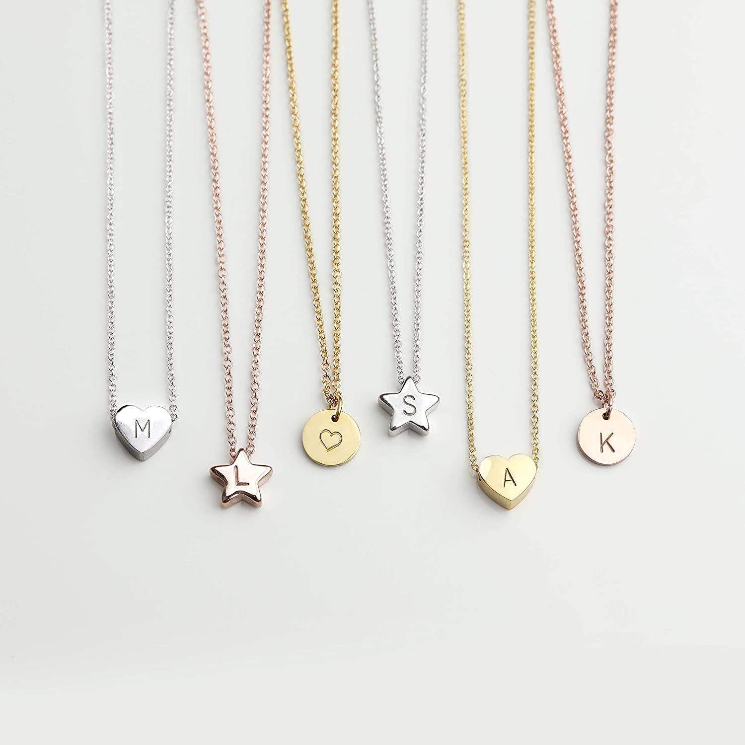 HEART STAR DISC Necklace with Initial. Personalized Necklace Baby Girl Kids Jewelry Holiday Gift Flower Girl Dainty Monogram Charm Gold Your Name Necklace - HTS