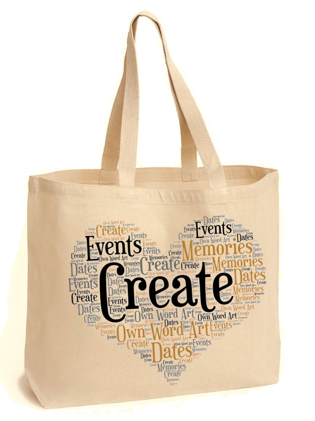 b2622d6de62 Create Your Own Word Art Tote Shoulder Bag. For Everyday Use. Shopping  College Books. PLEASE REFER TO IMAGE SECTION FOR INSTRUCTIONS   Amazon.co.uk  Luggage