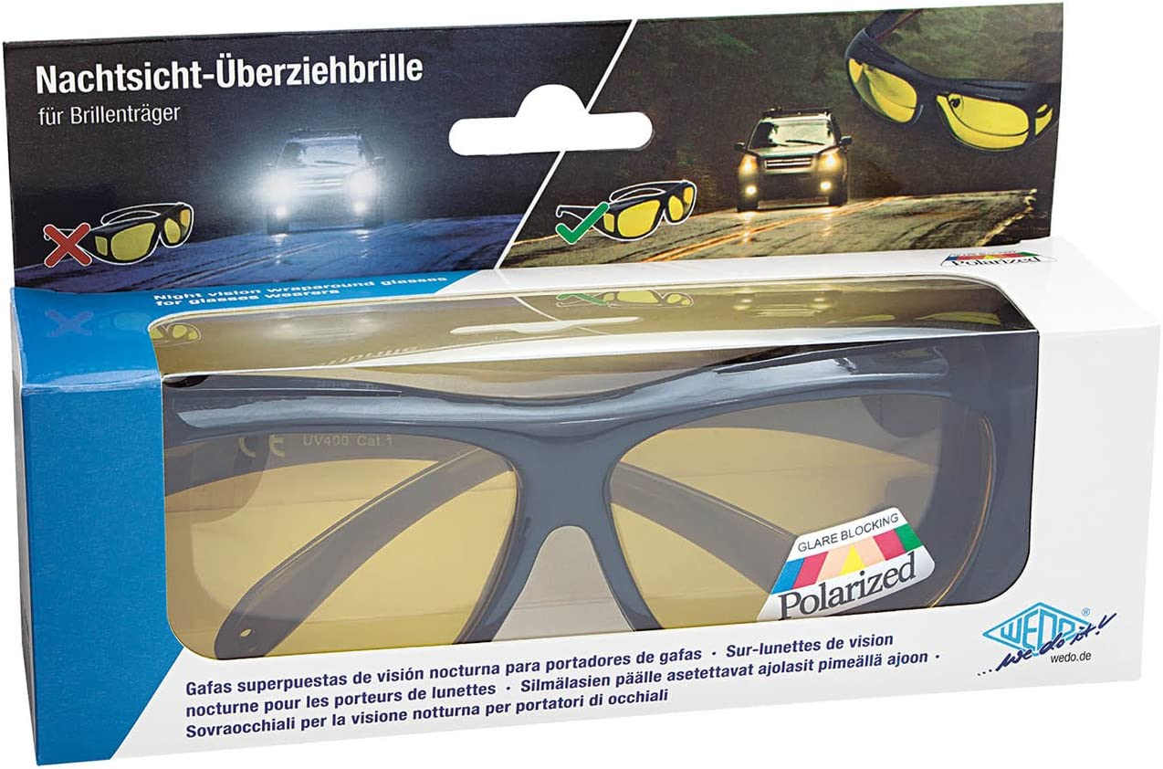 Wedo 27147599 Überzieh Nachtsichtbrille für Autofahrer für Brillenträger,