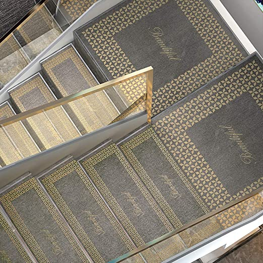 Alfombra De Escalera Antideslizante, Alfombra Escaleras Autoadhesiva Lavable, Almohadillas Rectangulares Grises para Escalera con Plegado De 3 Cm, Costura Segura, Goodtime,2pc-75x26CM: Amazon.es: Hogar