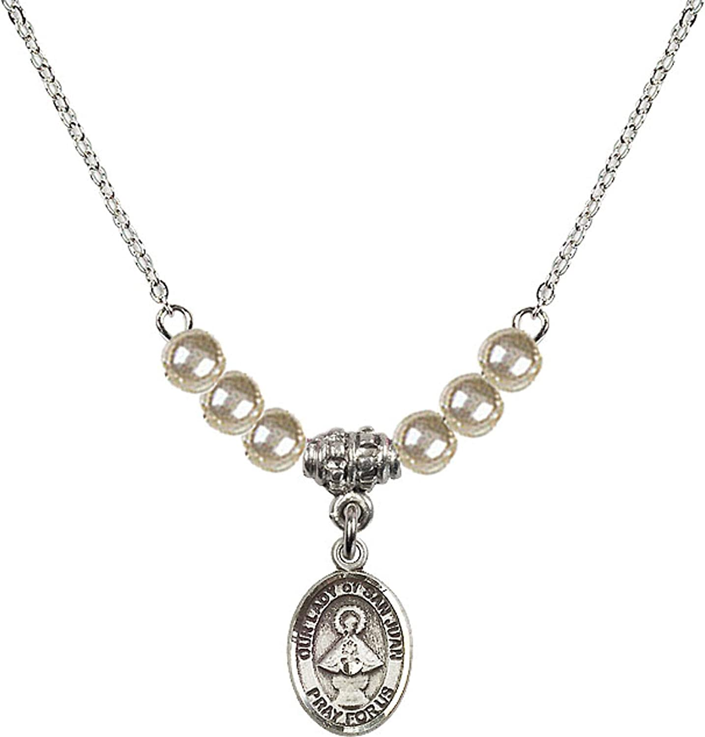 Bonyak Jewelry 18 Inch Rhodium Plated Necklace w// 4mm Faux-Pearl Beads and Our Lady of San Juan Charm