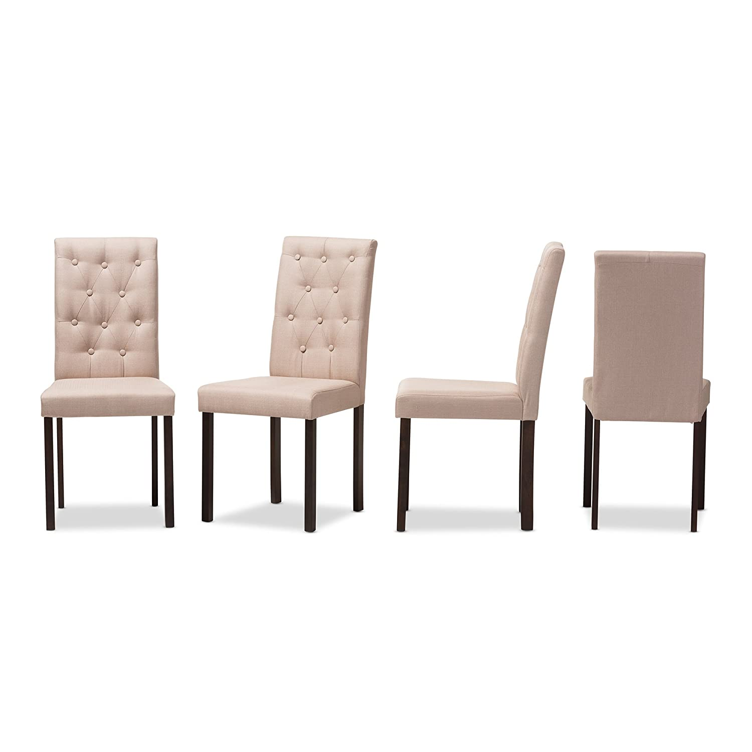 Set of 4 Baxton Studio Claire Dark Brown Finished Fabric Upholstered Dining Chair Beige Wholesale Interiors 424-7131-AMZ