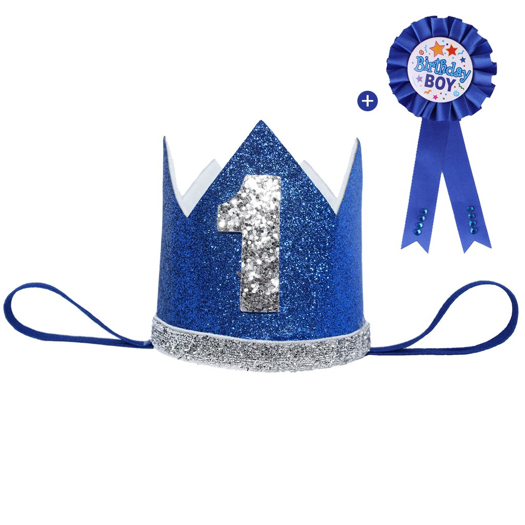 Maticr Glitter Baby Boy Girl First Birthday Crown & Prize Badge Number 1 Headband Cake Smash Photo Prop (Blue Kit)