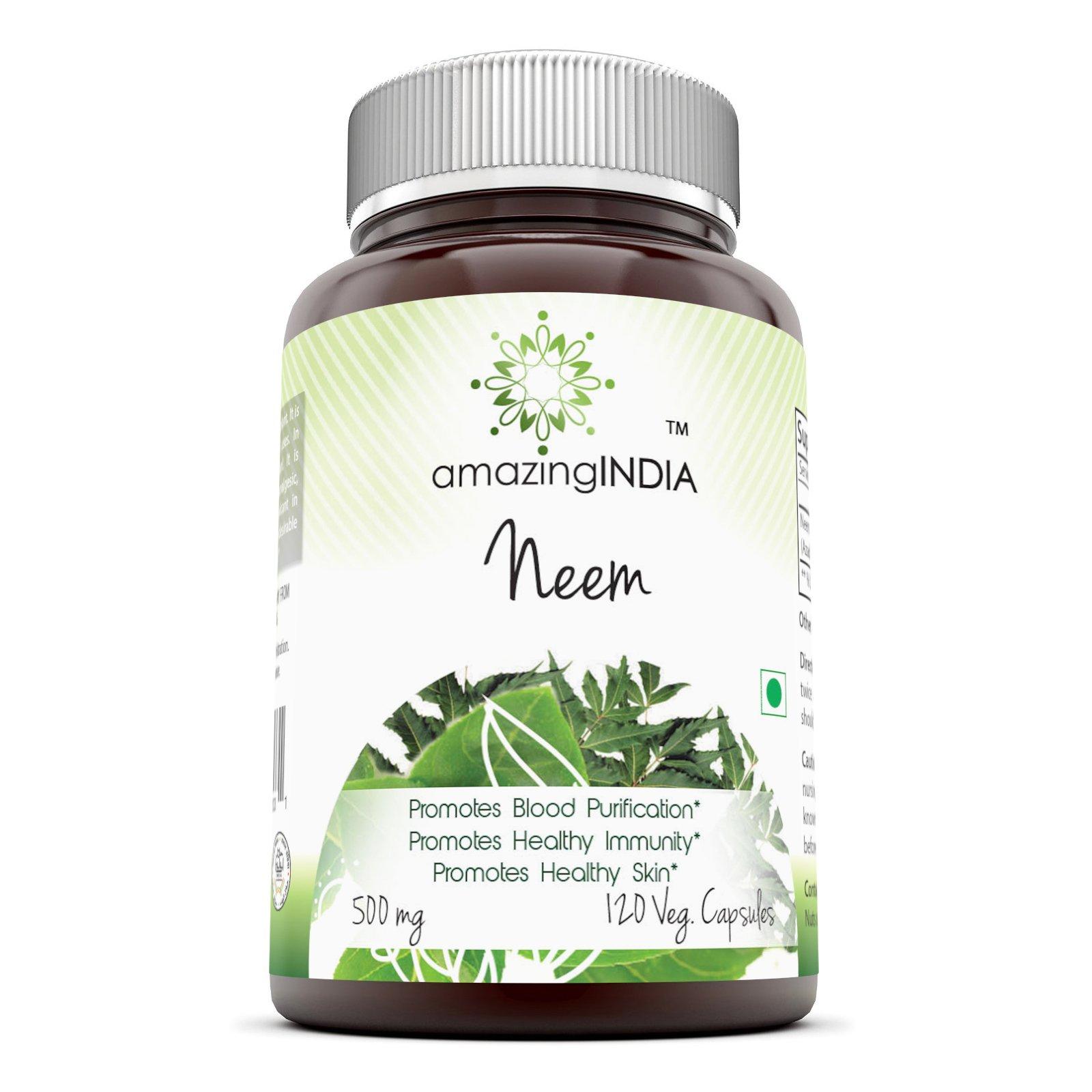 Amazing India Neem 500 Mg 120 Vegetarian Capsules * Promotes Blood Purification , Promotes healthy Immunity and Promotes health Skin *