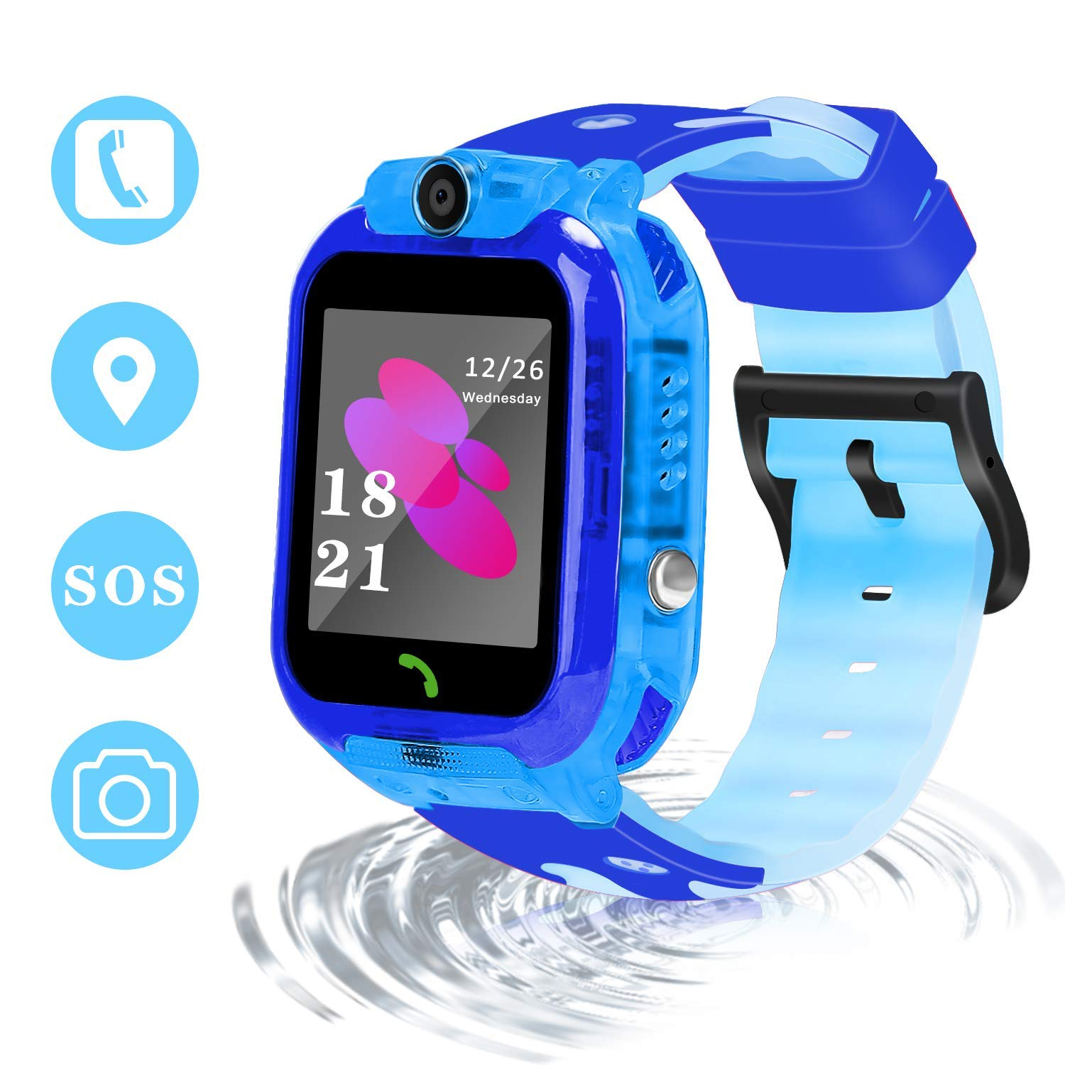 GUANLV Smart Watch for Kids Smart Phone Watch Waterproof GPS Tracker App Remote Control Unlocked SOS with Voice Chat Camera Game Learning Toys 3-12 Ages Boy Girl Best Birthday Gift (Black) by GUANLV (Image #1)