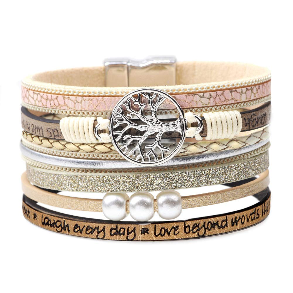 DESIMTION Tree of Life Womens Leather Wrap Bracelet,Boho Multilayer Wide Cuff Handmade Wristbands Wrist Braided Magnetic Clasp Buckle Casual Bangle Bracelets for Women, Teen Girl, Boy Gift (A-Beige)
