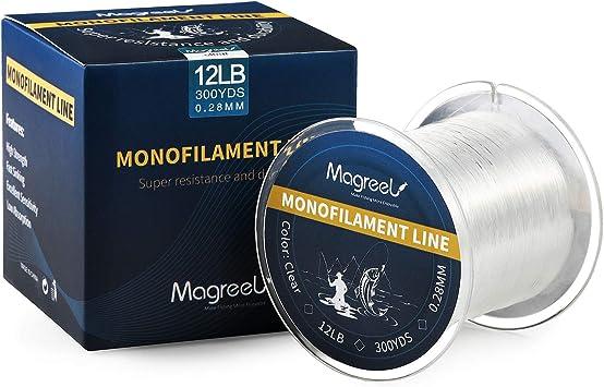 Magreel Monofile Angelschnur Abriebfeste Vorfachschnur Starke Nylon Angelschnur f/ür Salzwasser S/ü/ßwasser