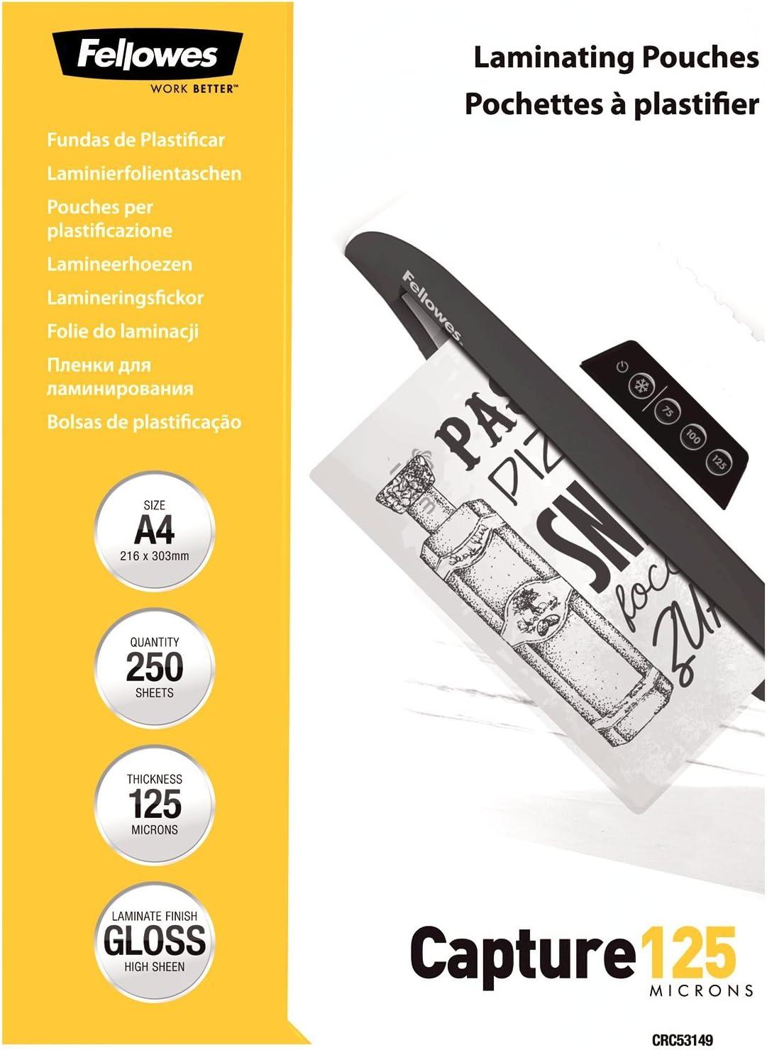 Fellowes - Pack ahorro 250 fundas de plastificar, formato A4, 125 micras: Amazon.es: Oficina y papelería