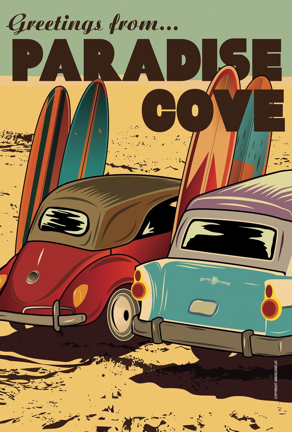 Toland Home Garden Surf Paradise Cove 28 x 40 Inch Decorative Vintage Summer Beach Car Surfboard House Flag