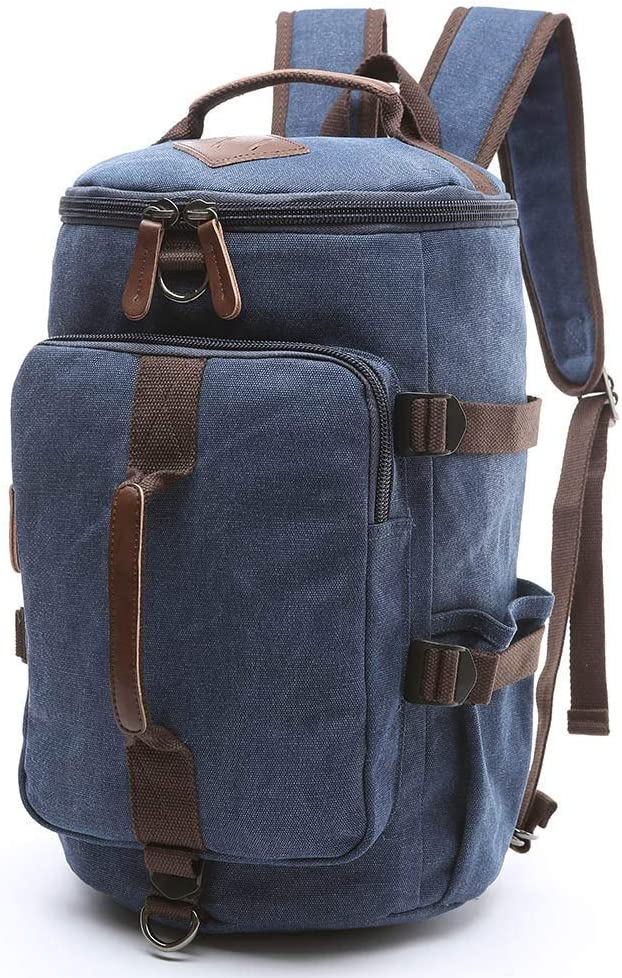 BAOSHA Canvas Weekender Travel Duffel Backpack Hybrid Hiking Rucksack Laptop Backpack for Outdoor Sports Gym HB-26(Blue)