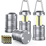4 Pack Camping Lantern with 12 AA Batteries - Magnetic Base - New COB LED Technology Emits 500 Lumens - Collapsible, Waterproof, Shockproof LED Lantern with Detachable Handles by Letmy
