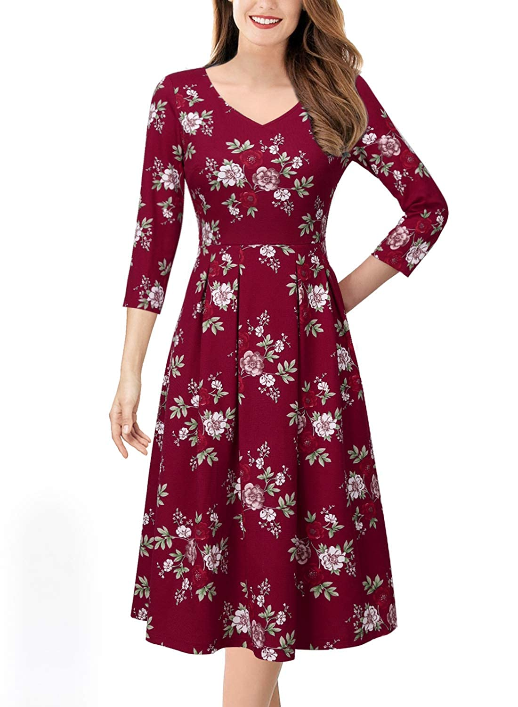 Red Multi Floral Print VfEmage Womens Vintage Summer Polka Dot Wear To Work Casual Aline Dress
