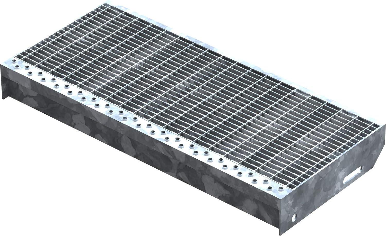 Marche perfor/ée Acier R11 XSL Maillage: 30//10 mm conforme /à la norme DIN Dimensions : 600 x 240 mm Galvanisation Fenau Adapt/é aux escaliers de secours