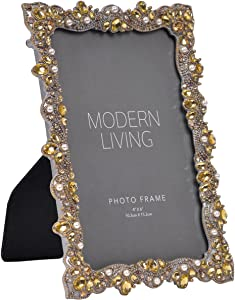 NIKKY HOME Retro Vintage Pearl Jeweled Picture Frame Pewter Finish for 4 x 6 Inch Photos