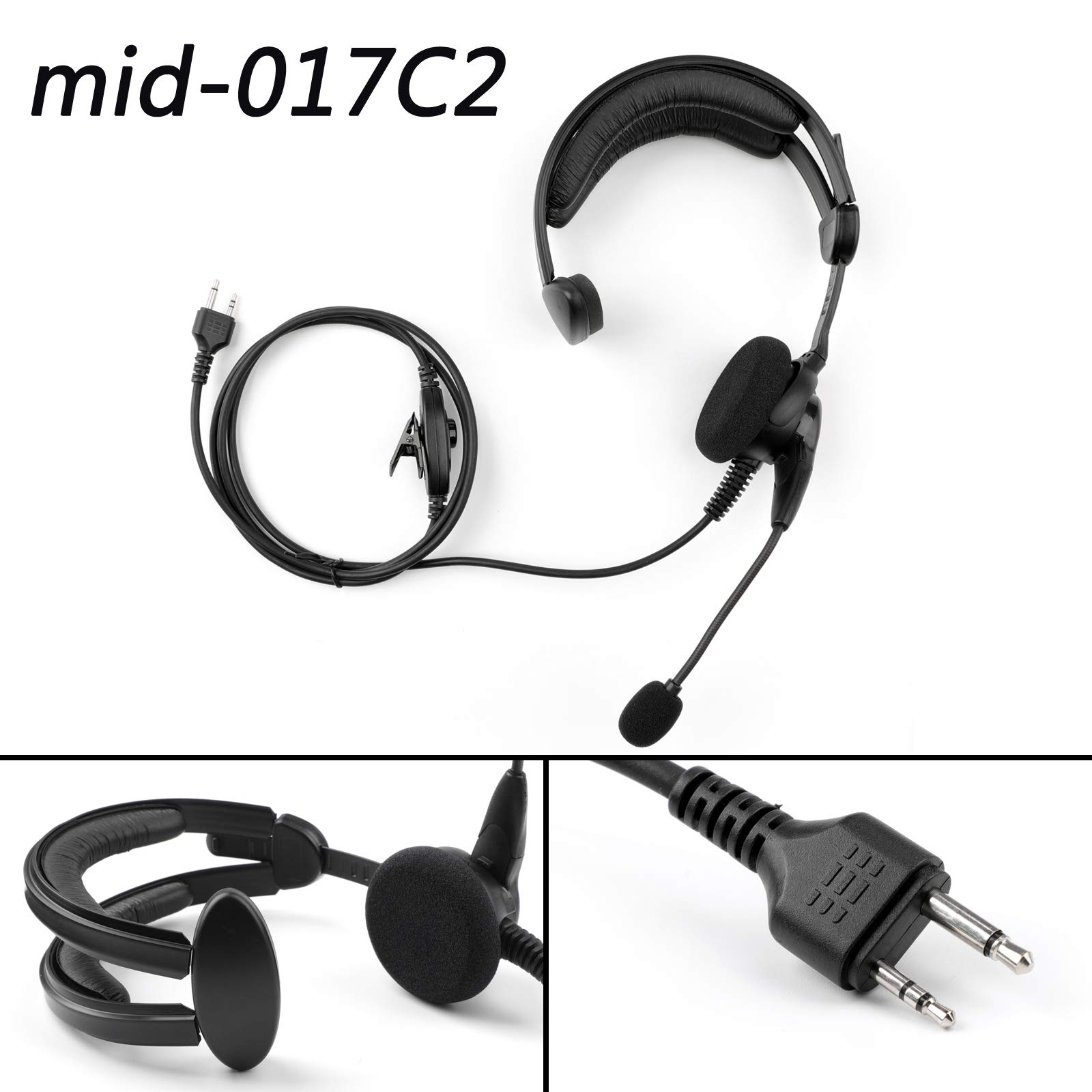 Artudatech 1PCS Over-The-Head Earpiece Headset Mid-017C2 Microphone Noise Cancelling