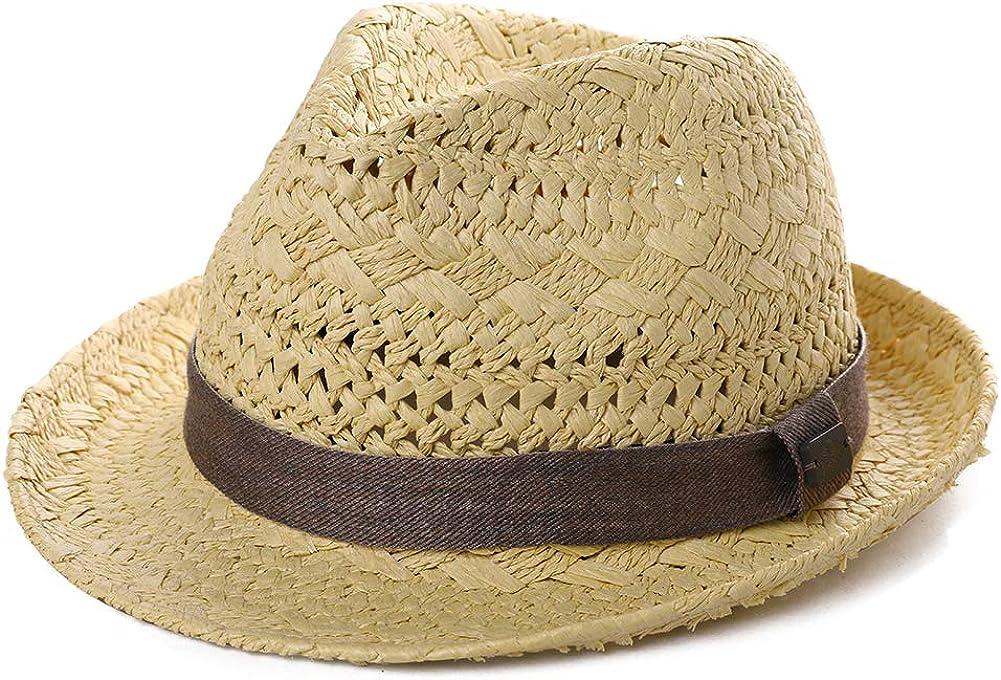 Fancet Packable Straw Fedora Panam/á Sun Verano Playa Sombrero Cubano Trilby Hombres Mujeres 55-61cm