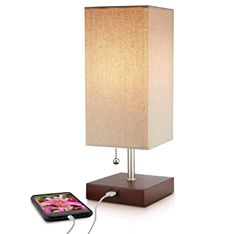 Modern Brown Small Table Lamp w USB Quick Charging Port, Great LED Lamp, Bedside Lamp, LED Desk Lamp, Bedroom Lamps, Table Light, Nightstand Lamp, ...