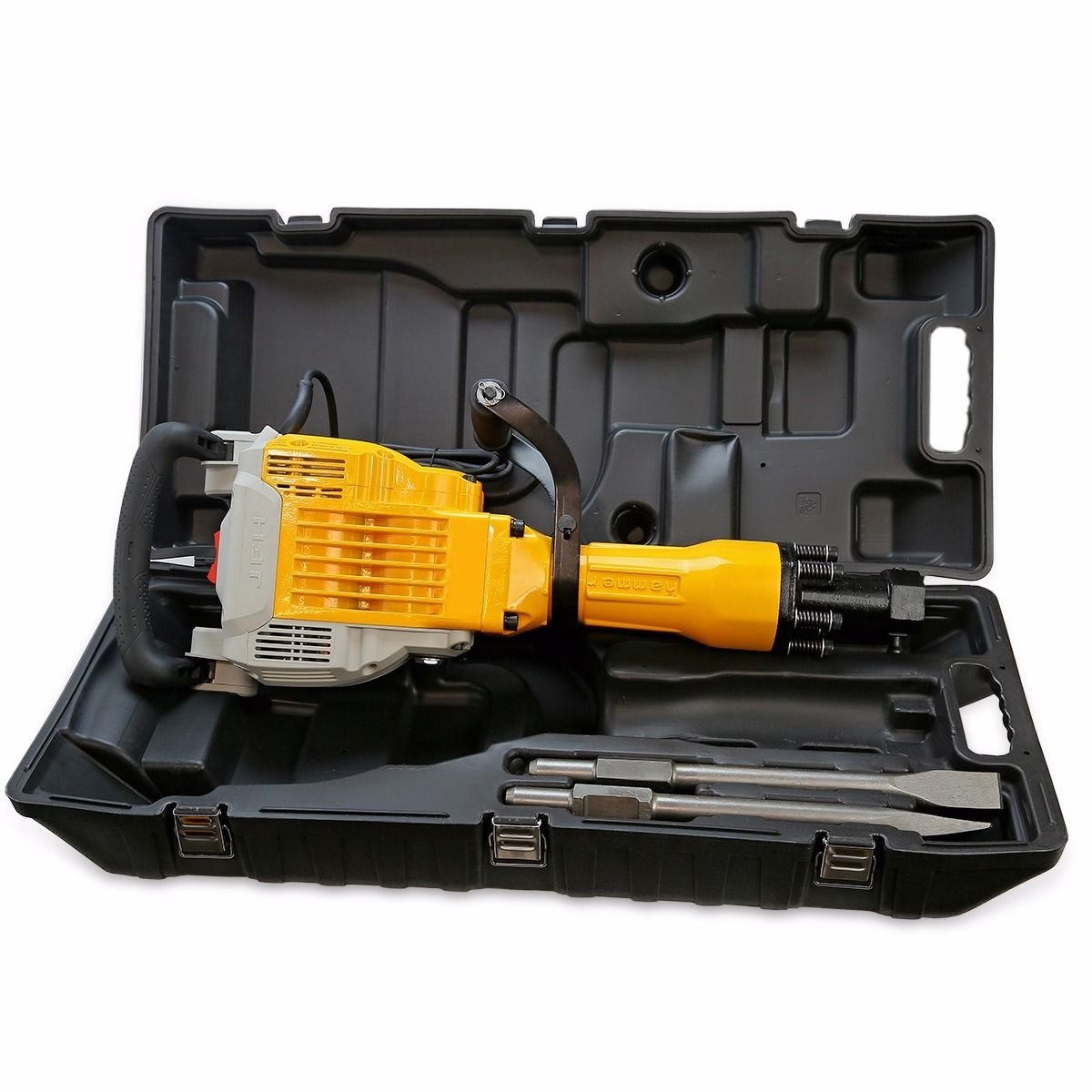 GHP 3600W Electric Demolition Jack Hammer Concrete Breaker with Flat & Point Chisel by Globe House Products