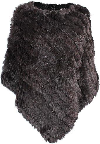 Fashion Womens Genuine Rabbit Fur Knitted Pullover Cape Shawl Poncho Coat Jacket