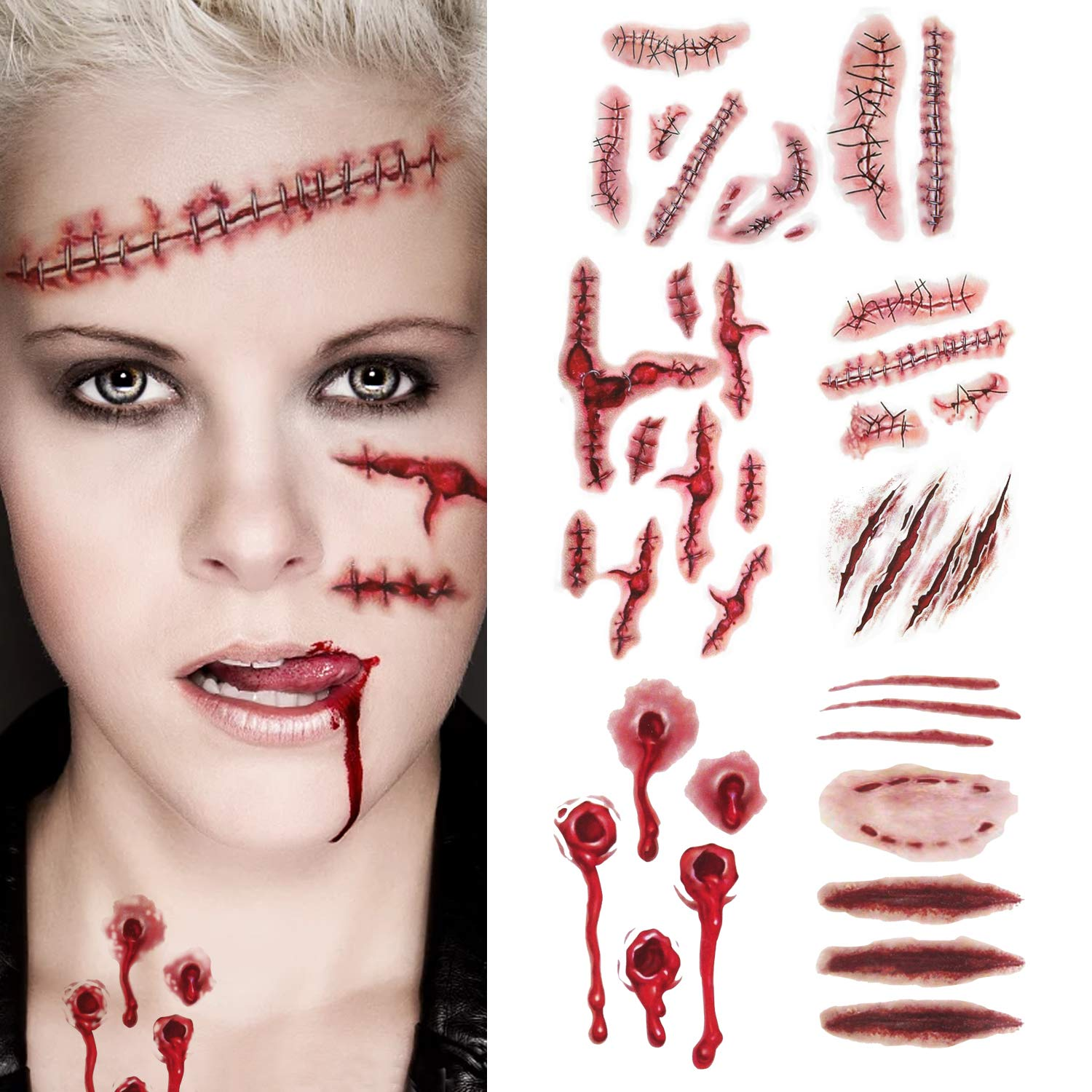 Halloween Scar Tattoos Bloody Stickers - Realistic Scratch Scar Temporary Tattoos Fake Scar Wound Stitch Tattoos Waterproof Costume Makeup Sticker Paper for Halloween Themed Party Prop and Cosplay INCOK