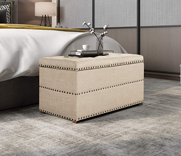 Joveco Storage Ottoman Tufted Rectangular Fabric Bench