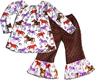 product image for Cheeky Banana Baby Toddler Girls Horse Print Top & Minky Ruffle Pants - Brown