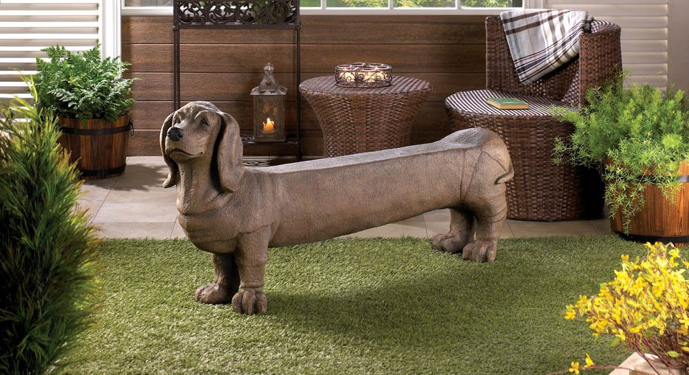Amazon.com : DACHSHUND DOGGY INDOOR OUTDOOR LOVE SEAT GARDEN BENCH : Garden  U0026 Outdoor