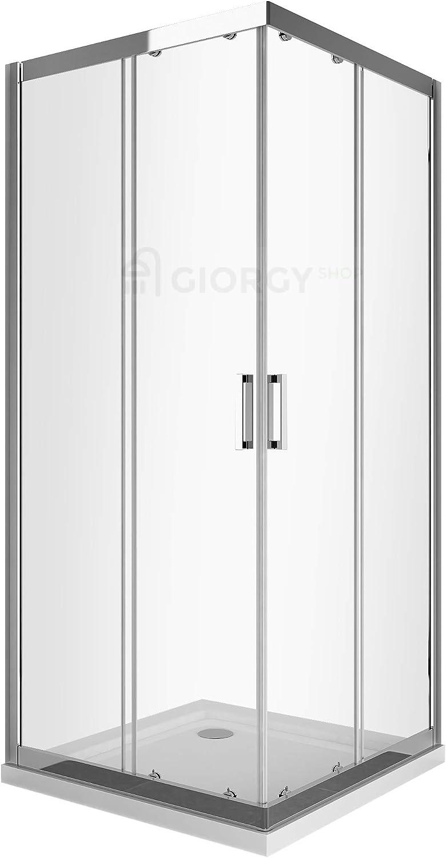 Cabina de ducha o baño cuadrada, 70 x 70 cm, cromo, con placa EasyClean transparente de 6 mm, antical. Perfil cromado de aluminio, angular, deslizante: Amazon.es: Bricolaje y herramientas