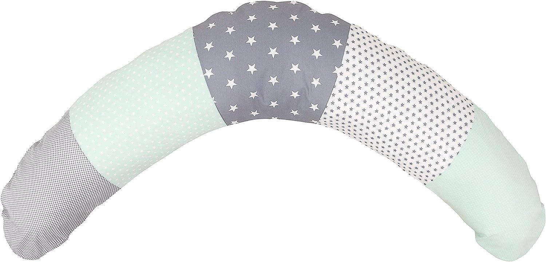Cojín de lactancia de ULLENBOOM ® menta gris (190x38cm; relleno: bolitas de fibra silenciosas; sirve también de cojín de apoyo, almohada para embarazadas, para dormir de lado)