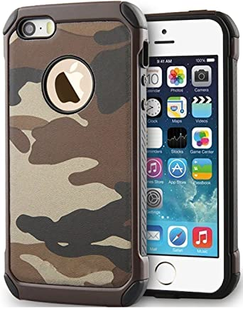 sports shoes b5fc4 64fc0 5S Case, iPhone 5s Case Shockproof Dropproof High Impact Armor Plastic and  Leather TPU Hybrid Rugged Camouflage Case for Apple iPhone 5 / 5S - Green