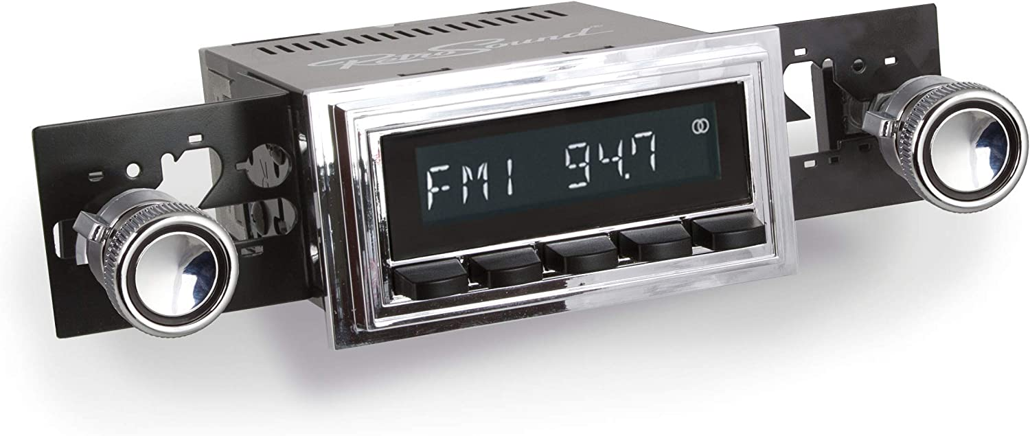 Bezel /& Knobs Kit LCB-M4-126-08-80 Retro Manufacturing Long Beach Radio with Chrome Face Black Pushbuttons