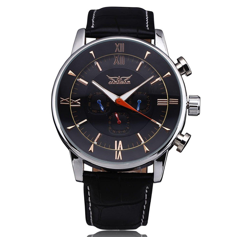 Nueva 2017 Jaragar relojes de hombre blanco/negro 6 manos gran Dial automática mecánica reloj de pulsera: Amazon.es: Relojes