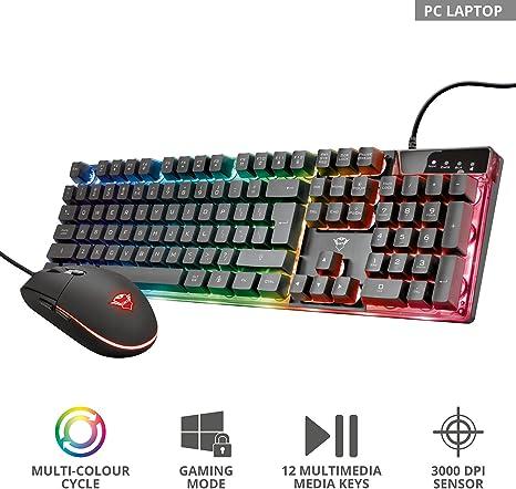 Trust GXT 838 Azor Teclado y ratón para Gaming, Negro