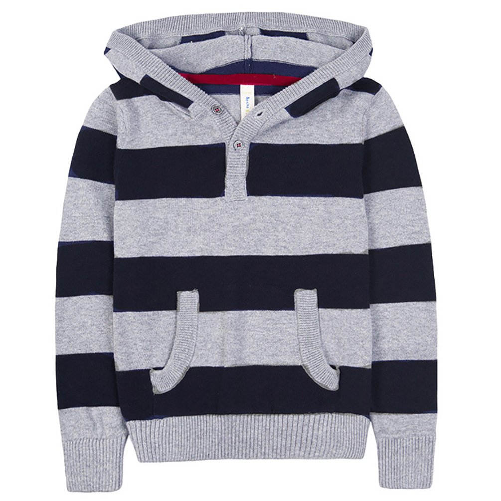 Benito & Benita Boys' Pullover Sweater Cotton Sweatshirt Casual Hoodie Grey/Navy for 2-12Y