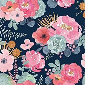 Peel and Stick Wallpaper Floral 17.7'' x 118'' Removable Vinyl Self Adhesive Matte PVC Paper Navy Background Pink Flower for Countertops Cabinet Furniture Wall Bedroom Decoration
