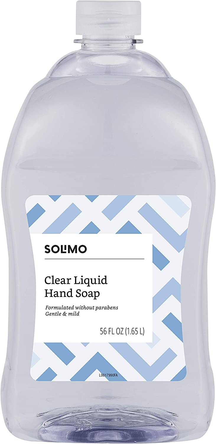 Amazon Brand - Solimo Gentle & Mild Clear Liquid Hand SoapRefill, Triclosan-free, 56 Fluid Ounce