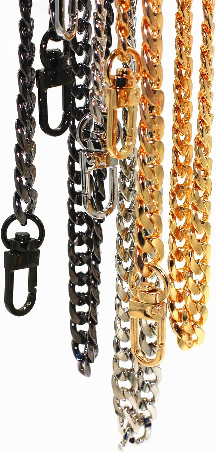 Model Worker DIY Iron Flat Chain Strap Handbag Chains Purse Chain Straps Shoulder Cross Body Replacement Straps with Metal Buckles 31.5, Bronze