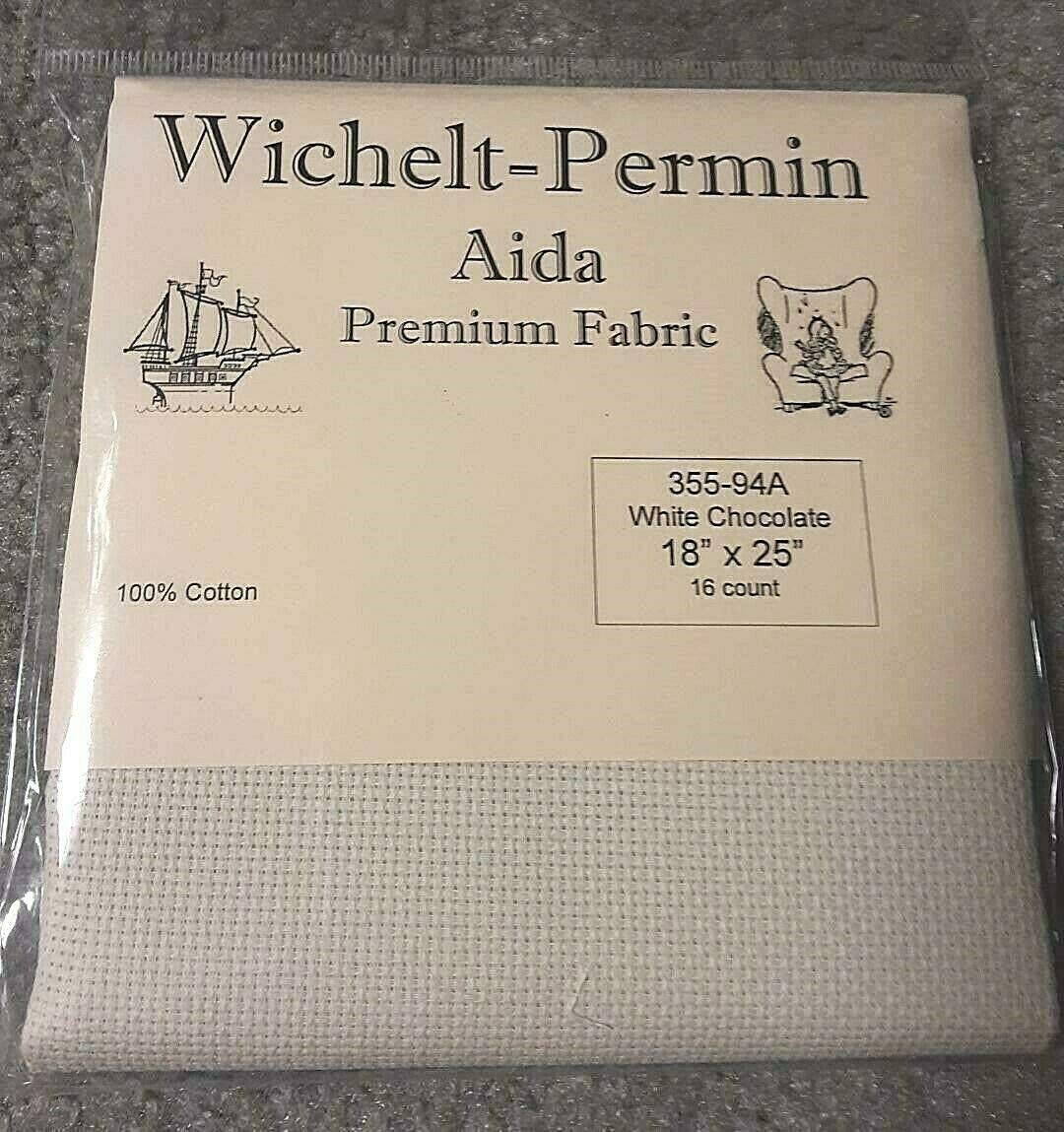 Wichelt Permin Aida Premium Fabric 16 Count 18 x 25 White Chocolate