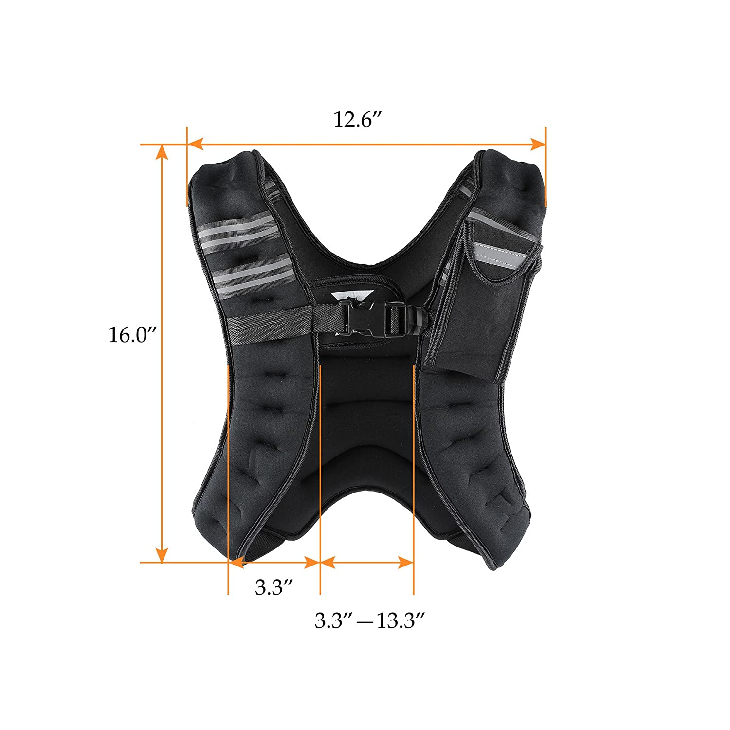 ZELUS Weighted Vest 12 lb Weight Vest w//Reflective Stripe for Workout Weight Loss Strength Training Muscle Building Fitness Black Z ZELUS Running Weightlifting Weightlifting
