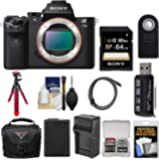 Sony Alpha A7 II Digital Camera Body with 64GB Card + Case + Battery & Charger + Tripod + Kit