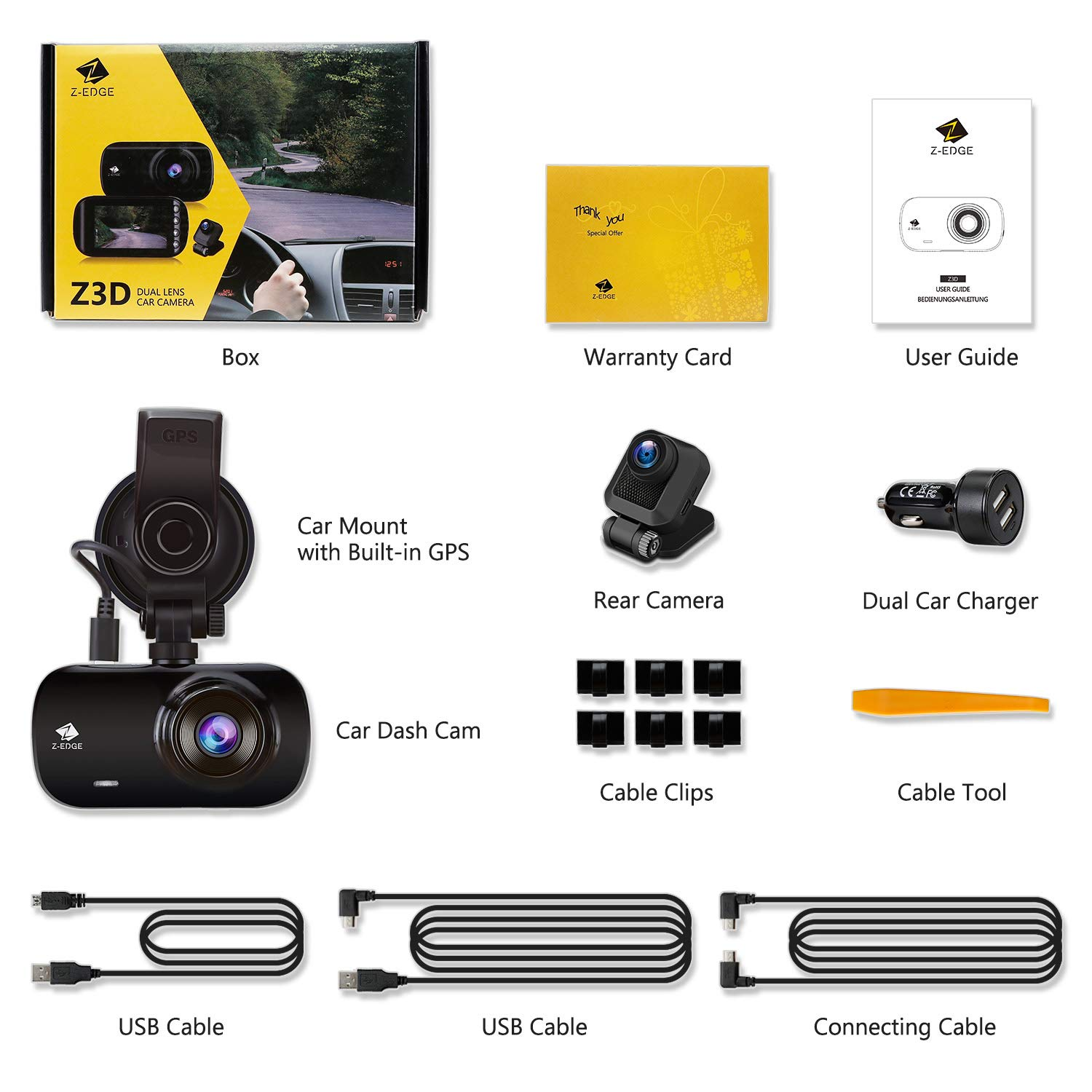 Z-Edge Z3D Dual Lens Dash Cam, 2.7'' Screen Ultra HD 1440P Front & 1080P Rear 150 Degree Wide Angle Front and Rear Dash Cam, Dashboard Camera with GPS, WDR, Low Light Vision, Parking Mode, G-Sensor by Z Z-Edge (Image #7)