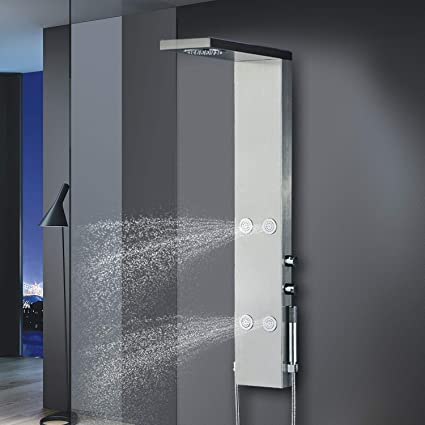 Vantory Shower Panel Tower VA050 49u0026quot; Stainless Steel With Embed Rain Shower  Massage Jets U0026