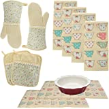 Laura Ashley Kitchen Towels Oven Mitts Pot Holders Drying Mats Cotton Set, 10 piece